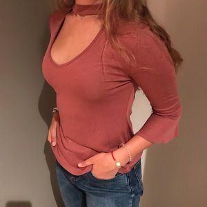 v-neck choker blouse with bell sleeves